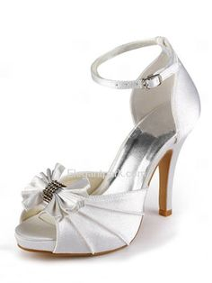 Satin Peep Toe Stiletto Heel/Pumps Inside Platform Rhinestones Evening Shoes With Buckle (EP11050-IP)