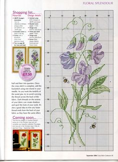 şirin Cross Stitch Bookmarks, Just Cross Stitch, Cross Stitch Cards, Cross Stitch Flowers, Cross Stitching, Cross Stitch Embroidery, Cross Stitch Designs, Cross Stitch Patterns, Cross Stitch Collection