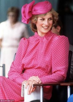 Princess Diana In a Pink Polka Dot Dress...All Smiles  Simply Lovely...