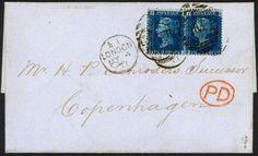 1871 Letter Sheet franked 2d Blue Plate 13 x 2 used LONDON to DENMARK | eBay