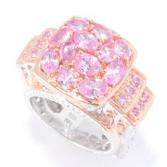 Gems en Vogue 3.44ctw Multi Shaped Thai Pink Sapphire Ring