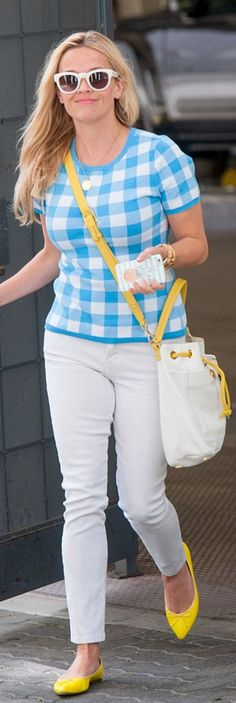 Who made  Reese Witherspoon's blue plaid shirt, white jeans, bucket white bag, and yellow ballet flat shoes?