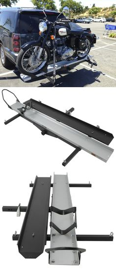 Rage PowerSports hitch cargo carrier lets you transport your motorcycle safely and efficiently. Durable, heavy-duty steel frame and includes extra long ramp for easy loading and unloading. Motorcycle Ramp, Motorcycle Carrier, Motorcycle Trailer, Scrambler Motorcycle, Porte Moto Camping Car, Motorbike Storage, Montero 4x4, Motos Harley, Day Van