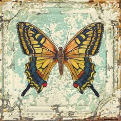 Lovely Yellow Butterfly on Tin Tile Painting by Jean Plout - Lovely Yellow Butterfly on Tin Tile Fine Art Prints and Posters for Sale