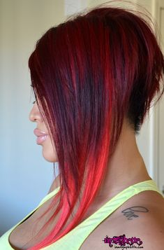 Dramatic Long Bob Hairstyles | asian a line back dramatic hair style cut red rihanna tattoo edgy side ...