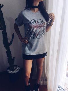 367689a16557 Look Rock In Rio Camiseta Bon Jovi Customizada