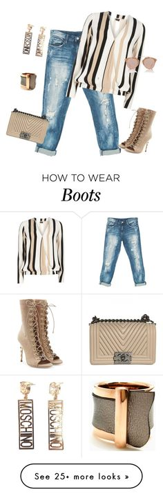 """""""outfit 3959"""" by natalyag on Polyvore featuring Sans Souci, Balmain, Dorothy Perkins, Chanel, Moschino and Christian Dior"""