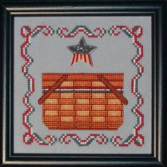 Patriotic Basket - Cross Stitch Pattern (INSTANT DOWNLOAD) / red white blue star button / Counted Thread / Digital PDF / American