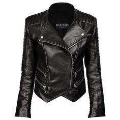 BALMAIN Leather Jacket Black found on Polyvore