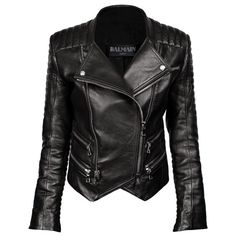 BALMAIN Leather Jacket Black found on Polyvore