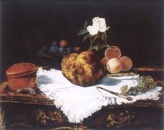 Edouard Manet Brioche with flower and fruits