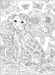 Coloring Pages: Be Dazzled with these cute Dog and five more handsome Dogs......from the Coloring Book: Creative Haven Dazzling Dogs Coloring Book. Try these or buy the book at my favorite Publisher Dover Publications!  Davlin Publishing #adultcoloring