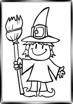 Halloween Witch on Halloween Night Coloring Page Coloring