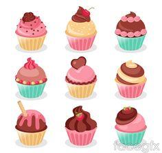 9 tasty cupcake vector