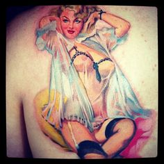 Lovely sexy vintage pin up girl tattoo by Keith Ciaramello
