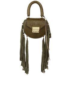 50029d946456 SALAR Green Snake Fringed Mimi Mini Bag.  salar  bags  polyester  patent