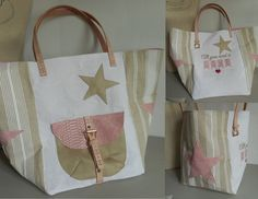 "Grand sac cabas 54X36 cm ""Cabas écru blanc et rose all you need is love"" écru, rose, blanc, : Sacs à main par miss-coopecoll"