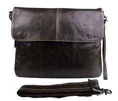Genda Vintage Flapover Shoulder Bag Unisex Genuine Leather Crossbody Clutch Bag for Ipad/Tablets Crossbody Clutch, Leather Crossbody Bag, Satchel, Real Leather, Leather Men, Handbags Uk, Messenger Bag Men, Shoulder Bag, Unisex
