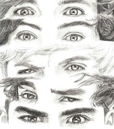 One Direction Eyes One Direction Fan Art, One Direction Drawings, One Direction Wallpaper, One Direction Pictures, Harry Styles Dibujo, Harry Styles Drawing, Amazing Drawings, Easy Drawings, Pencil Art Drawings