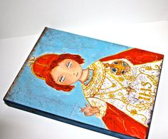 Items similar to Infant Jesus of Prague - Giclee print mounted on Wood x 7 inches) Folk Art by FLOR LARIOS on Etsy Infant Of Prague, Art Icon, Baby Jesus, Blessed Mother, Folk Art, Giclee Print, Saints, Icons, Wood