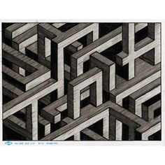 Escher-Esque Isometric Drawing - Project - United Art and Education: Escher Kunst, Escher Art, Mc Escher, Escher Prints, Isometric Drawing, Isometric Design, Elementary Art Rooms, Art Lessons Elementary, Drawing Projects