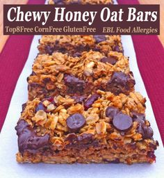 EBL Food Allergies: Chewy Honey Oat Bars Recipe AND Enjoy Life Foods Dark Chocolate Morsels GIVE-AWAY