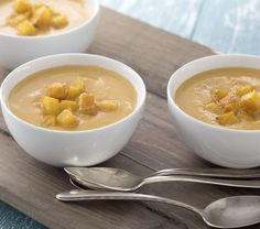 <p>Creamy, sweet bisque pairs perfectly with crisp and cheesy croutons for those cool autumn nights.</p> <p></p>