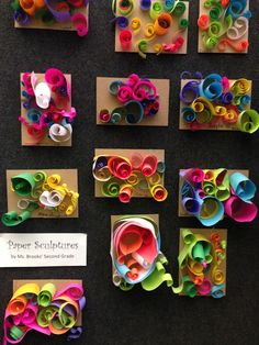 grade paper sculptures reminding us of the work of Richard Serra: * summer project using (documented) art work from the previous year Kindergarten Sculpture, 2nd Grade Art, 2nd Grade Crafts, Kids Crafts, Arts And Crafts, School Art Projects, Paper Art Projects, Art School, Art Lessons Elementary