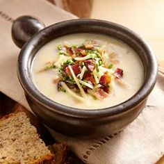 "Healthy Loaded Baked Potato Soup. To make a vegetarian version of this potato soup, omit the bacon and use ""no-chicken"" broth). #kashibetterrecipes"