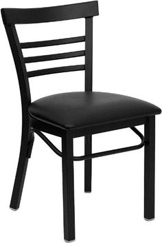 Flash Furniture XU-DG6Q6B1LAD-BLKV-GG Hercules Series Black Ladder Back Metal Restaurant Chair with Vinyl Seat - http://www.furniturendecor.com/flash-furniture-xu-dg6q6b1lad-blkv-gg-hercules-series-black/ - Categories:Desk Chairs, Dining Chairs, Dining Room Furniture, Furniture, Home and Kitchen, Office Chairs, Office Furniture and Lighting, Office Products