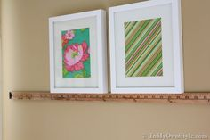easy way to hang a row of pictures evenly