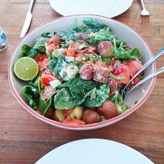 Lekkere salade met spinazie,krieltjes en zalm!