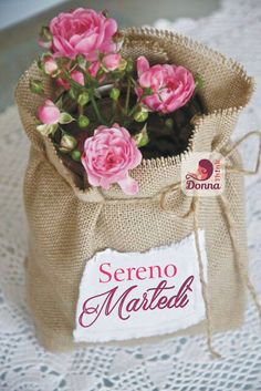 I have potted mini roses that need to stay outside to grow well, but I like to bring them in for a visit too . having a burlap sack like this to dress up their pots, easy on-easy off, would be great - and roses + burlap = Burlap Furniture, Shabby Chic Furniture, Shabby Chic Crafts, Shabby Chic Homes, Burlap Flowers, Pink Flowers, Cut Flowers, Burlap Sacks, Nautical Wall Decor
