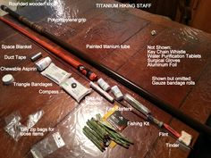 I like to hike in the woods. A stick comes in handy on steep sections of trail, and it gives my arms something to do. At first, I improvised a hiking staff from a five-foot rake handle. I frapped a… Bushcraft Camping, Camping Survival, Outdoor Survival, Survival Tools, Survival Prepping, Outdoor Camping, Bushcraft Skills, Survival Items, Survival Hacks