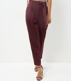 Burgundy High Waist Tie Front Trousers  | New Look
