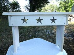 Lil bench with stars by Phyllissexton @ Etsy.........( great storage crates at this shop also)