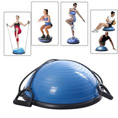 Blue Half Ball Balance Trainer Yoga Fitness Pilates Strength Exercise Workout with Resistance Bands *** Click on the image for additional details.