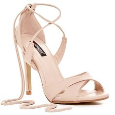 Elegant Footwear Saber Sandal ($40) ❤ liked on Polyvore featuring shoes, sandals, nude, self tying shoes, strappy sandals, strap high heel sandals, open toe sandals and strap shoes