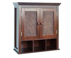 This Espresso Hand-Woven Cane Panel Wall-Hanging Bathroom Cabinet is casual and sophisticated. Also, has cubbies for extra storage. Espresso Hand-Woven C Hanging Bathroom Cabinet, Bathroom Sink Storage, Ikea Storage Cabinets, Bathroom Shelves Over Toilet, Bathroom Vanity Cabinets, Mirror Cabinets, Bathroom Wall Decor, Diy Cabinets, Bathroom Furniture