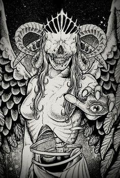 Angel Of Death - Angel Of Death by Dead Inside Graphics , via Behance - Fantasy Kunst, Dark Fantasy Art, Dark Art, Viking Drawings, Art Drawings, Arte Horror, Horror Art, Tattoo Grafik, Inside Art