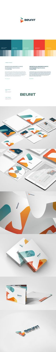 Nice identity and branding / BEUNIT by kreujemy Corporate Design, Brand Identity Design, Graphic Design Branding, Logo Branding, Logo Design, Corporate Identity, Web Design, Design Case, Creative Design