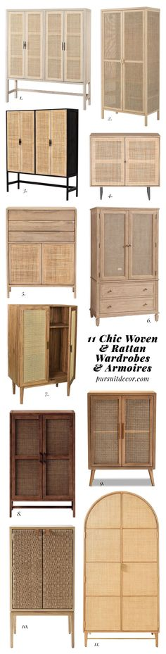 ROUND-UP: 11 Chic Woven and Rattan Wardrobes and Armoires - Pursuit Decor Bohemian Chic Home, Modern Bohemian, Boho, Wall Paint Combination, Bohemian Interior Design, Yellow Walls, All Modern, Wardrobes, Rattan