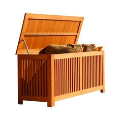 Easily organize items on your patio with this beautiful wooden storage box. It's built with a combination of high density Eucalyptus wood and premium grade Eucalyptus Gradis hardwood. Excellent resistance to rot and insects allows it to remain in great condition for years to come. The wood is harvested from managed forests.