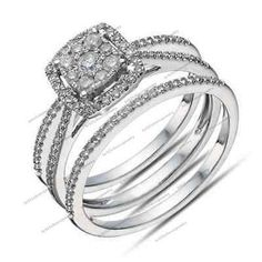 Round Cut Sim.Diamond 14K White Gp 925 Silver Split Shank Engagement Ring Set #br925