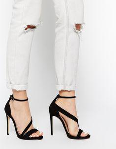 Image 1 ofCarvela Gosh Black Strap Heeled Sandals