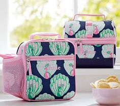 Mackenzie Navy Peacock Lunch Bags #pbkids