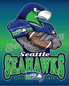 Seattle Seahwks, Seattle Seahawks Logo, Seahawks Fans, Seahawks Football, Funny Cartoon Characters, Nfl Logo, Jersey Girl, Sports Logos, Sports Teams