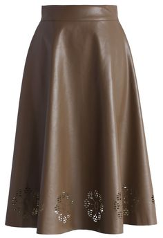 Faux Leather Cutout Midi Skirt in Coffee