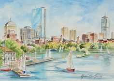 Charles River View Boston  Original Watercolor by MacMurrayDesigns, $600.00