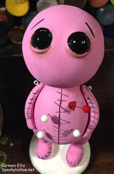Halloween horror clay voodoo doll pink or brown by SpookyHollow